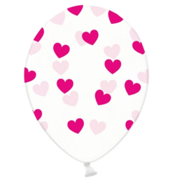 Hartjes ballonnen - roze - liefde love valentijn ballon - doorzichtig - 5stk. latex transparant - hart opdruk - ballonplus