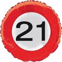 21 Folie ballon -  verkeersbord -18 inch/45cm