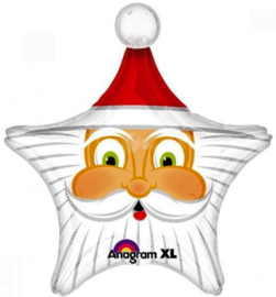 Kerstman Hoofd - Folie Ballon  XXL - 29 X 27 Inch / 74 X 69 cm