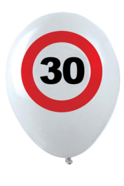 30- cijfer- verkeersbord  - latex ballon - 11 inch/27,5cm - 6 st.