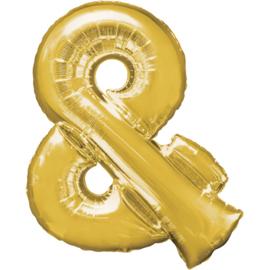 Letter & enteken ballon goud 86 cm - folieballon letter alfabet helium of lucht