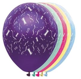 1  -  nummer - Div. Kleuren - latex ballonnen -11 inch/27,5m