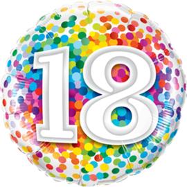 18 - confetti print verschillende kleuren - Folie Ballon - 18 inch/46cm