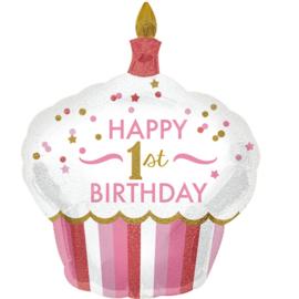 Happy 1st. Birthday  - 1 jaar - Girl /Meisje - XXL Folie Ballon- 29x36 Inch/73x91cm
