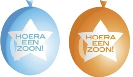 Hoera een Zoon! - Ster - Blauw/Oranje - Latex Ballon - 9 Inch /23 cm.- 6 st