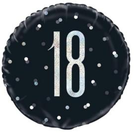 18- Zwart /Zilver -Folie Ballon- 18 Inch/ 45,7 cm