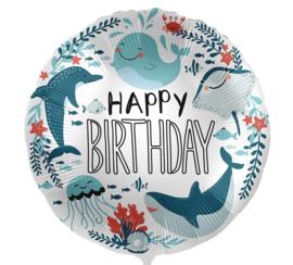 Happy Birthday - Onderwaterwereld Zee Dieren - 17 Inch / 43 cm