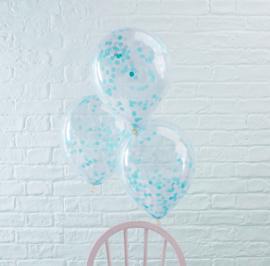 Confetti Latex Ballon - Blauw - 12 Inch/ 30 cm -5 st.