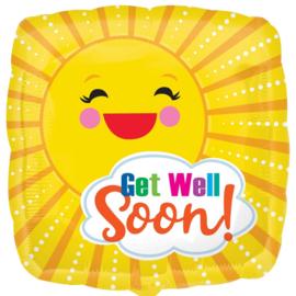 Get Well Soon! - Zonnetje -Folie Ballon - 17 Inch / 43 cm