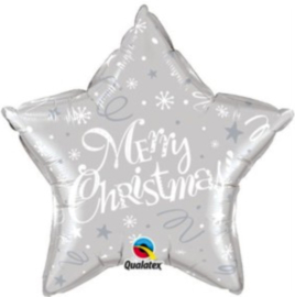 Merry Christmas - Ster - Zilver - Folie Ballon - 20 Inch./51cm