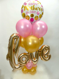 Tafeldecoratie - Moederdag _Happy Mother's Day! - Love Ballon - Roze, Goud, Rose Goud - 1.20 x  0.75 cm