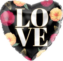 LOVE - Hart Folie ballon -Bloemen en een zwarte achtergrond - 18 inch/46cm
