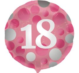 18 - Roze / Zilver - Folie Ballon - 18 Inch/45cm