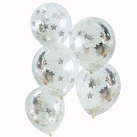 Zilveren Sterren Confetti Doorzichtige Latex Ballonnen - 5 st.