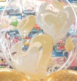 Bubbles- Dubbele Ballon  - Wit / Ivoor - Harten -24 Inch / 60 cm