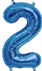 Cijfer - 2 - nummer - Blauw - Folieballon (lucht) - 16inch / 40 cm