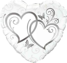 Ineen gestrengelde harten - zilver- Folie Ballon -18 inch/45 cm