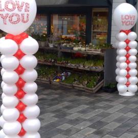 Ballonnen Pilaar - Vierkant - Rood / Wit