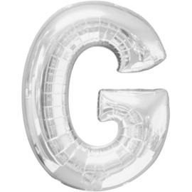 Letter G ballon zilver 86 cm - folieballon letter alfabet helium of lucht