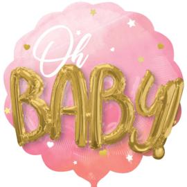 Oh Baby - Roze/Goud -  3D effect - XXL Folie Ballon -30 Inch/76 cm