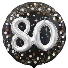 80 - Confetti print - XXl - Folie Ballon - Zwart / Zilver / Goud  -  Effect: 3 D - 32 Inch - 81 cm