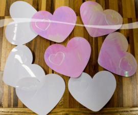 Tafel Confetti - Sier Confetti XL  - Harten -  Irredescent  - 8x6,5cm  Gewicht:14gr.