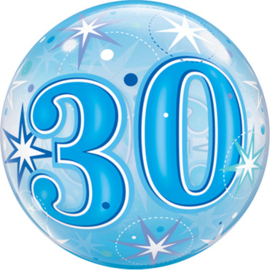 30 - Blauwe sterren - Bubbles Ballon - 22 Inch / 55cm