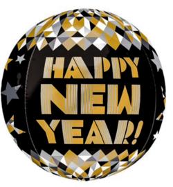 Happy New Year - Goud /Zwart - Folie Ballon - 15 X 16 Inch / 38 X 40 cm
