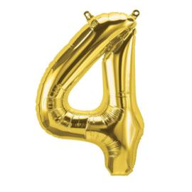 Cijfer - 4 - nummer - Goud - Folie ballon (lucht) - 16inch / 40 cm