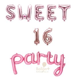 Sweet 16 Party - Ballonnen Pakket - Roze / Roze Goud (lucht)