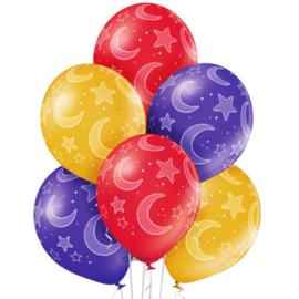 Maan en Sterren - Goud, Rood, Paars Metallic - Latex Ballonnen - 12 Inch/ 30 cm - 6 st.