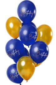 Happy Birthday- Blauw / Goud Latex Ballonnen - 12 Inch/30 cm - 12 st.
