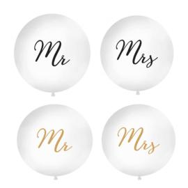 Mega latexballon- Mr  of  Mrs  - ballon huwelijk bruiloft - decoratie mega grote ballon -  90 cm - wit - helium of lucht ballonplus