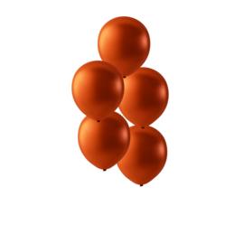 Koper kleurige latex ballonnen om te vullen met helium - Metallic koper - glans ballonnen - 35 cm - 5stk
