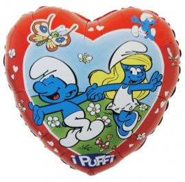 Smurf & Smurfin - Hart Folie Ballon - 18 Inch/45cm