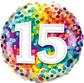15 - Regenboog Confetti Folie Ballon - Rond - 18in/45cm