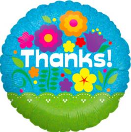 Thanks! - met bloemen- folie ballon - 18 inch/45cm