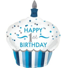 Happy 1st. Birthday  - 1 jaar - Boy/Jongen - XXL Folie Ballon- 29x36 Inch/73x91cm