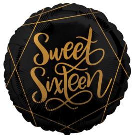 Sweet Sixteen - Goud / Zwart Folie ballon - 17 Inch/43 cm