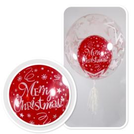 Decoratie Helium Ballon - met Tassel Wit  - Merry Christmas - Sterren -24 Inch/60cm