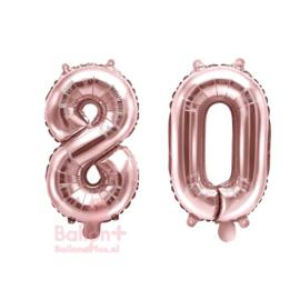 Getal - 80 - Cijfers /  Nummers - Rose Goud - Folie Ballon (lucht) 35 cm