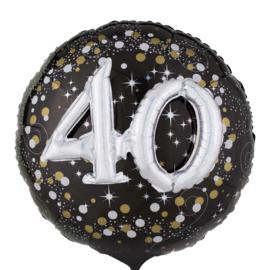 40 - Confetti print - XXl - Folie Ballon - Zwart / Zilver / Goud  -  Effect: 3 D - 32 Inch - 81 cm