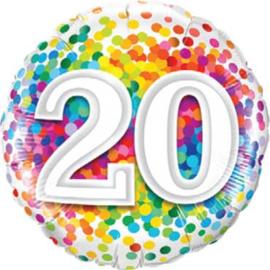 20 - Regenboog Confetti Folie Ballon - Rond - 18in/45cm