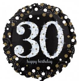 30 -  Folie Ballon-Happy Birthday -Confetti  - Zilver / Zwart  17 Inch / 43 cm.