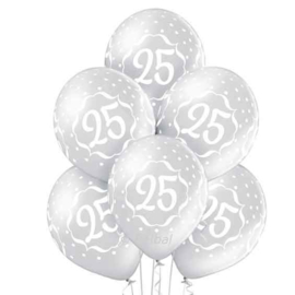 25 Jarig Jubileum - Zilveren Ballonnen - 12 Inch/30cm - 6st.