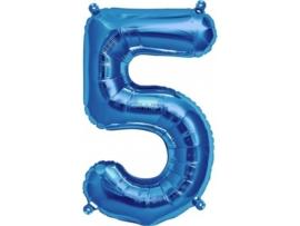 Cijfer - 5 - nummer - Blauw - Folie ballon (lucht) - 16inch / 40 cm