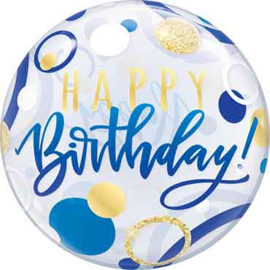 Happy Birthday - Doorzichtige Bubbles Ballon - Blauw/Goud - 22 Inch/56cm