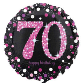 70  - Folie Ballon-Happy Birthday -Confetti - Fuchsia / Zwart  17 Inch / 43 cm.