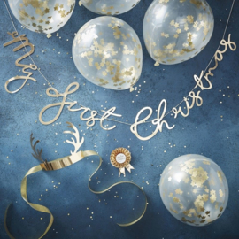 My First Christmas  - Ballonnen met gouden confetti sterren -  Baby Photoshoot Complete Set -