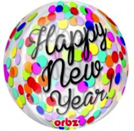 Happy New Year - Confetti print -Div. kleuren - Folie ballon - 15 X 16 Inch / 38 X 40 cm